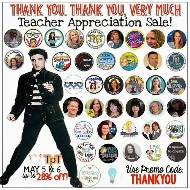 Teacher Appreciation Week Sale! https://www.teacherspayteachers.com/Store/Tracee-Orman