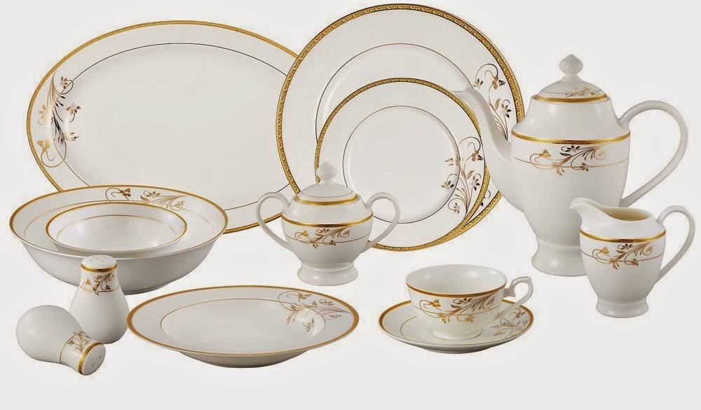 Lorren Home Trends La Luna Bone China 57-Piece 24K Gold Floral Design Dinnerware Set Service for 8  sc 1 st  The Dinnerware Shop : dinnerware set for 8 - pezcame.com