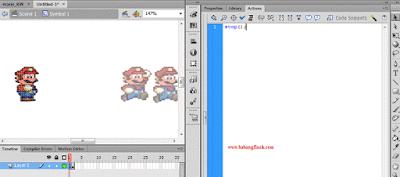"""Setelah anda menyelesaikan proses pada langkah 10, kembali pada stage sebelumnya, dengan meng-click Scene 1, lakukan hal sama pada image yang ber-instance name """"mariojalan"""", dengan menekan ctrl+x pada """"instance name"""" mariojalan, ( langkah nya sama seperti pada langkah 10 ). klik pada frame 1 nya dan tuliskan action script stop(); . perhatikan gambar dibawah ini."""