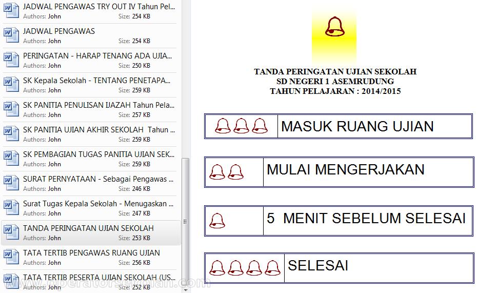 daftar isi Administrasi (Dokumen) Lengkap UAS Tahun Pelajaran 2014-2015