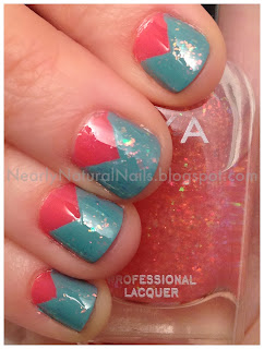 V gap manicure, v-gap nails, v-gaps, big 5 free nail polish, coral nails, turquoise nails, green nails, glitter nails, fleck effect top coat, holographic glitter, 31 day challenge - Day 17: GLITTER nails, short nails, vintage colors, mani, manicure, natural nail polish, Spring 2012 Zoya, Beach & Surf Summer 2012 Collection, jelly polish, cream finish polish,  Zoya Wednesday, Zoya Chloe, Zoya Maya