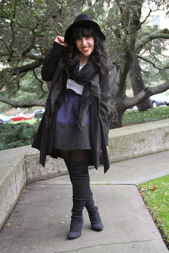 Black Coat x Wool Felt Hat x Thigh High Boots