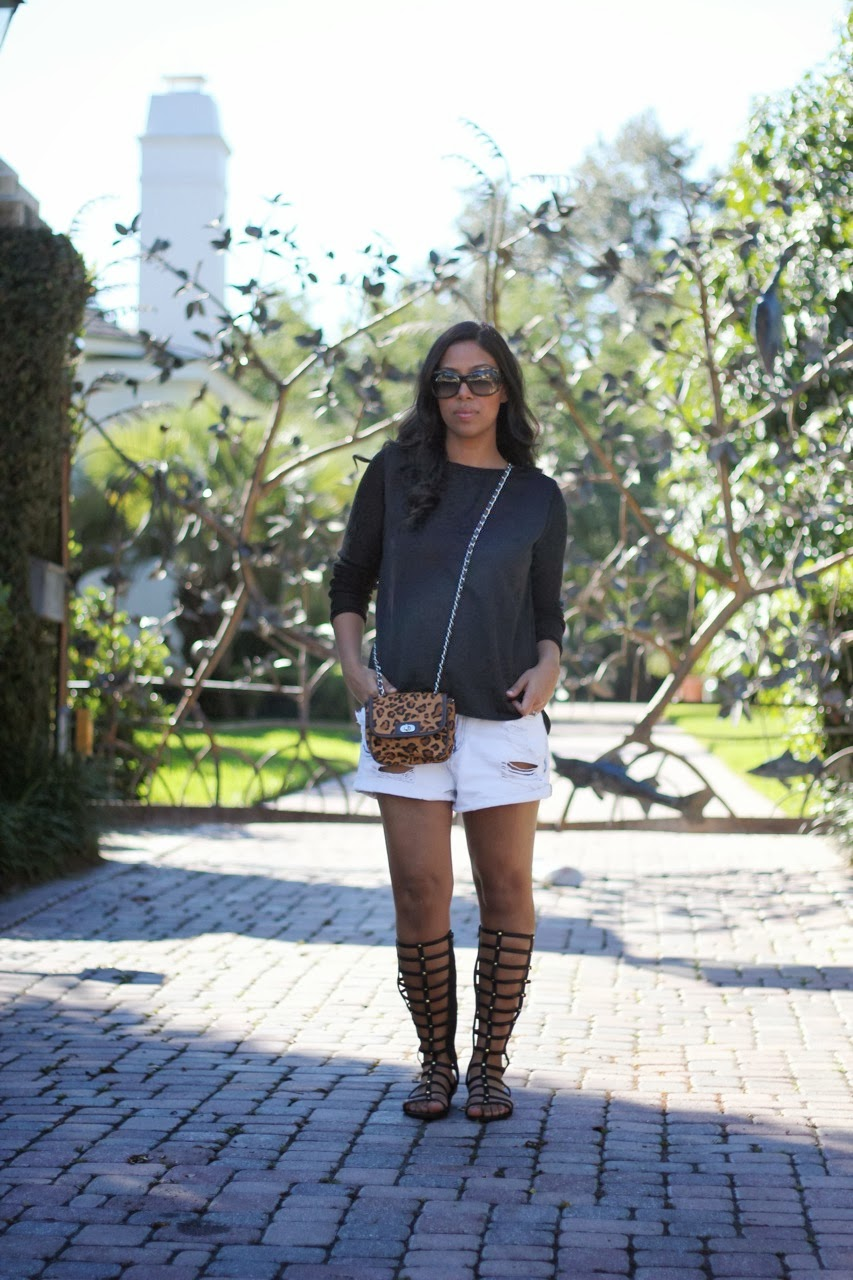 zara denim shorts leopard crossbody bag gladiator knee high sandals banana republic dsw marc jacobs sunglasses