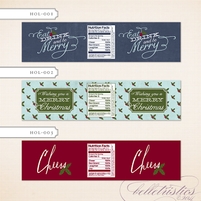 holiday christmas new year's water bottle label design custom unique printable diy