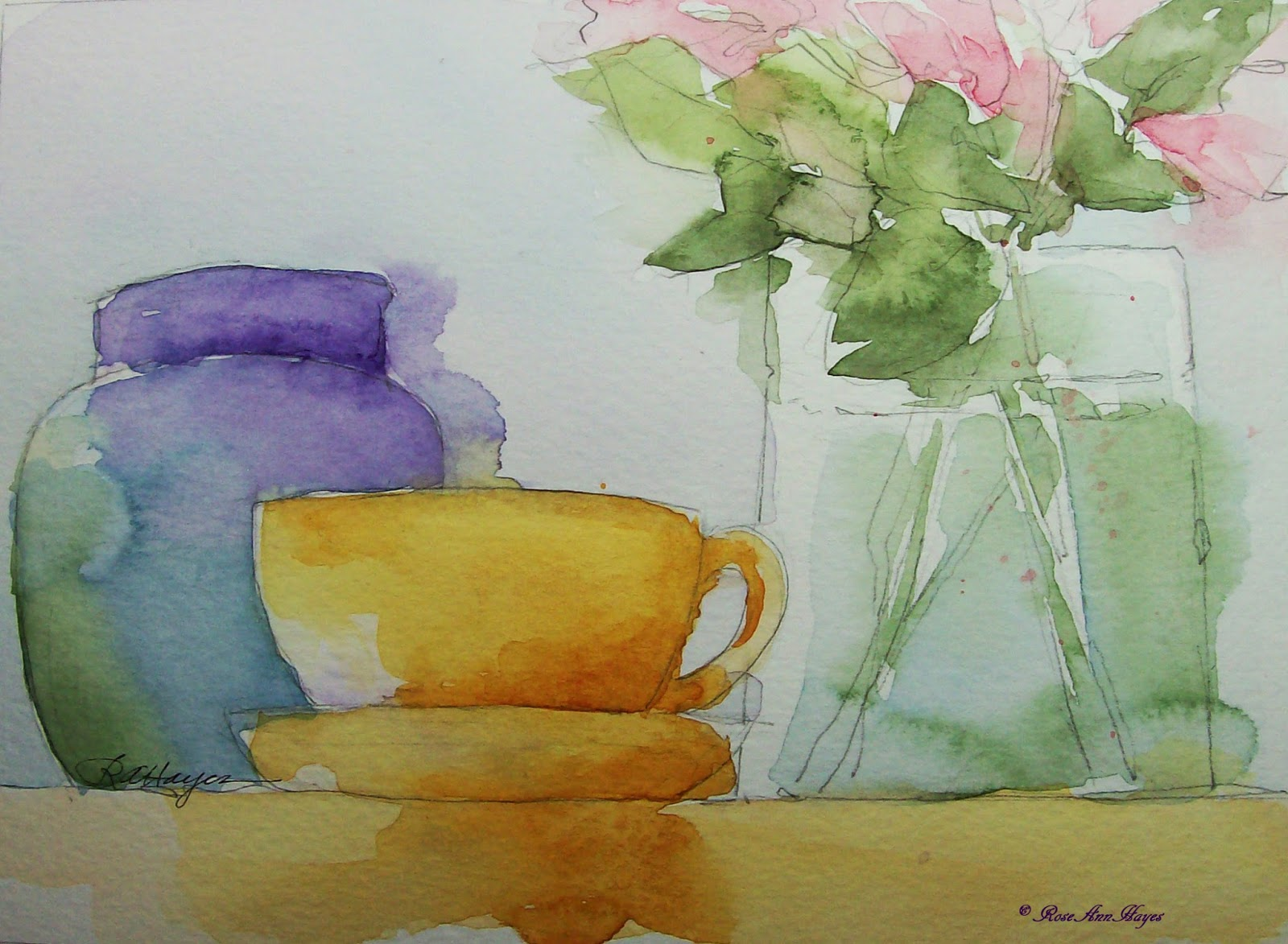 Watercolor paintings by roseann hayes yellow cup and for Watercolor pictures to paint