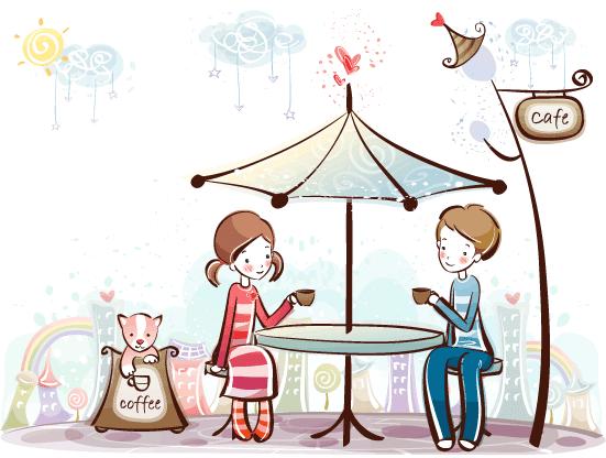 Estampas de San Valentín café - Vector