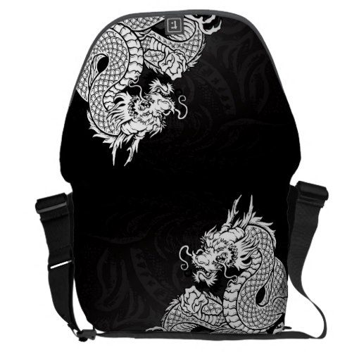 White Chinese Dragon Messenger Bag