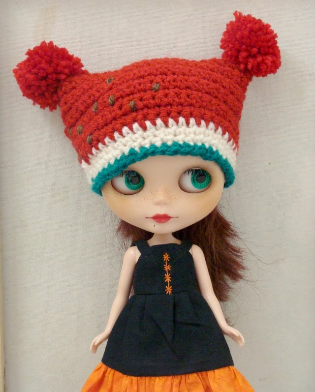 Ayalaythe watermelon crochet hat for blythe dolls