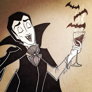 Black and white ink drawing of Dracula vampire enjoying a glass of wine blood with three bats