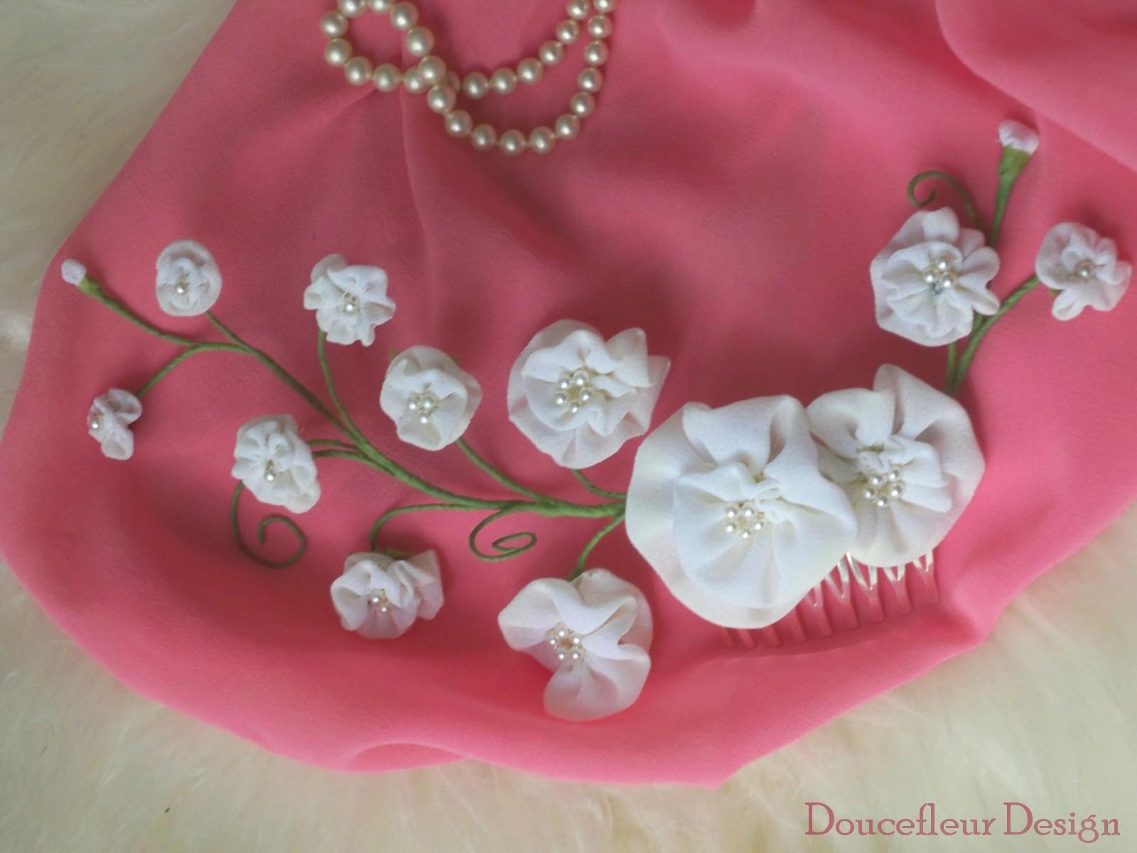 peigne de mari e demeter fleurs en tissus faites main doucefleur design. Black Bedroom Furniture Sets. Home Design Ideas