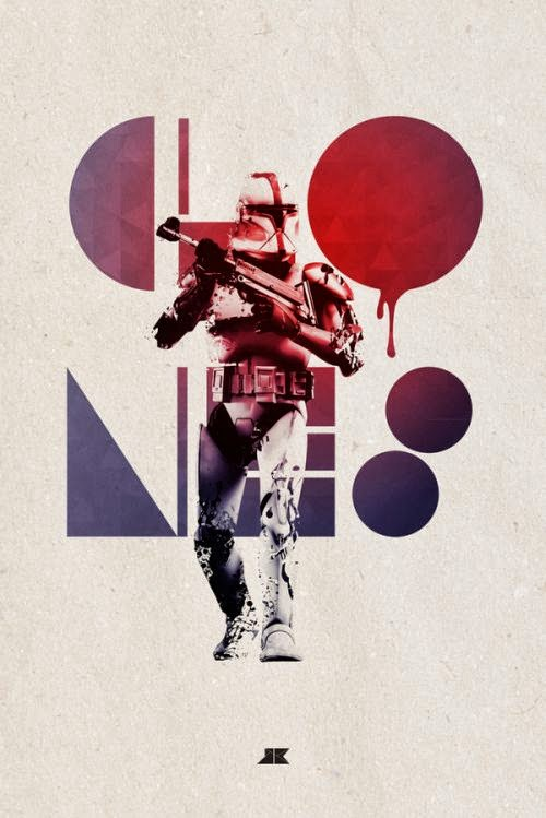 Josip Kelava typographic illustrations super heroes villains comics games movies Clones - Star Wars
