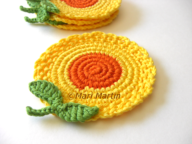 Crochet Yellow Flower Pattern : Crochet Flowers Coasters ~ Crochet Colorful