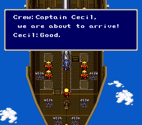 Final Fantasy II: Cecil and the Red Wings about to attack Mysidia