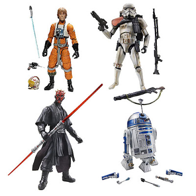 Star Wars Black Series Wave 1 6 Inch  Action Figures - X-Wing Pilot Luke Skywalker, R2-D2, Imperial Sandtrooper & Darth Maul