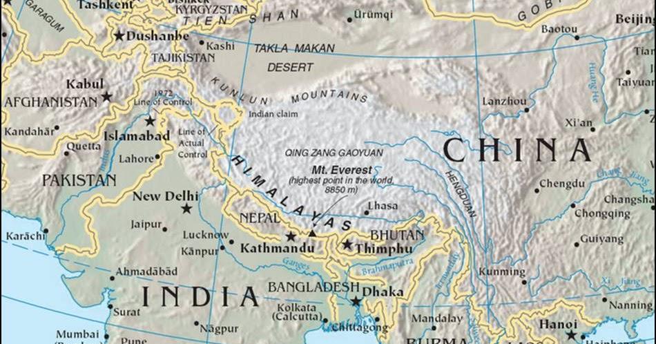 Kaart himalaya kaart himalaya met hoogste berg op aarde mount everest - Aperitief plateau huis van de wereld ...