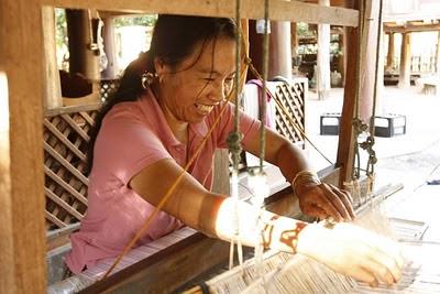 Thai weaver at her loom