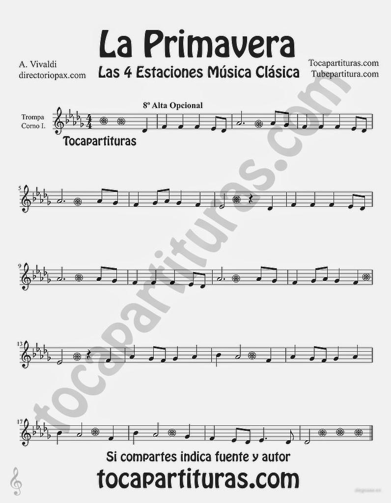 """Tubepartitura La Primavera de Antonio Vivaldi Partitura para Trompa y Corno """"Las Cuatro estaciones de Vivaldi"""""""