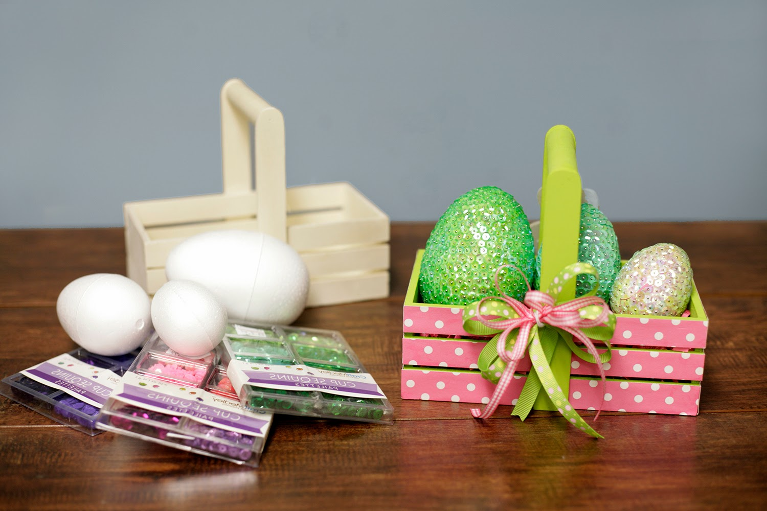 Ben franklin crafts and frame shop monroe wa spring and easter make a cute egg basket using foam eggs decorated with sequins decorative tape ribbon and an unfinished wood basket solutioingenieria Image collections