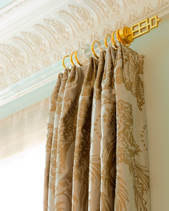 gold curtains pole