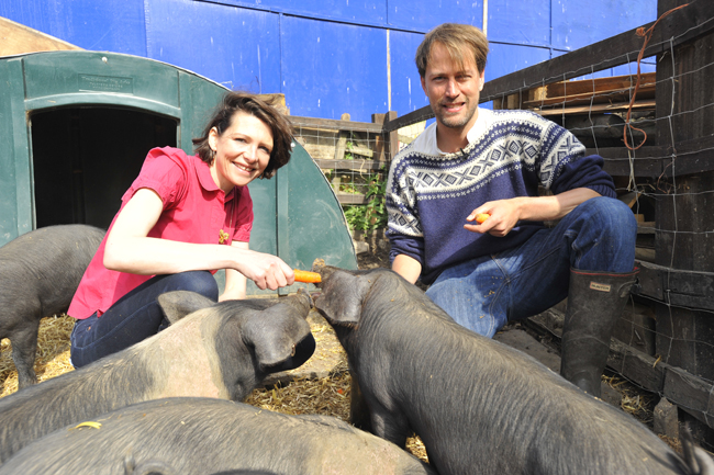 "Thomasina Miers with ""Pig Idea"" pigs."