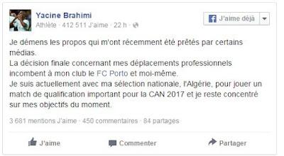 Yacine Brahimi réagit à la polémique sur le déplacement de Porto à Tel Aviv