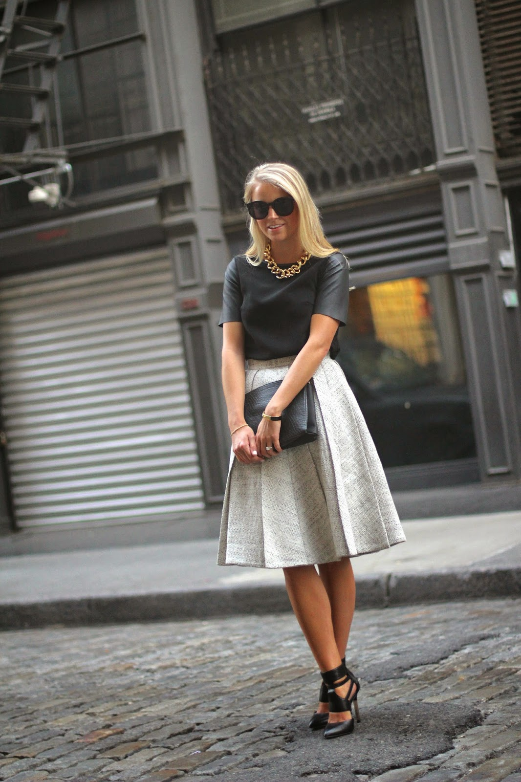 pleated midi skirt, fall midi skirt, wolf and badger, chunky gold link necklace, faux leather top, tweed skirt, fall close toe heels