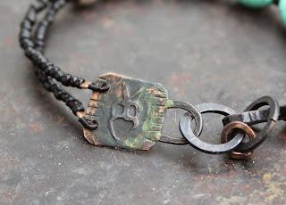 turquoise shaman rockpainting bracelet etched plate