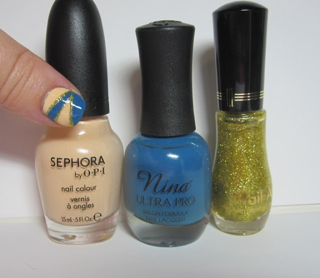 Bottle shot:  Sephora for OPI Give Peach A Chance, Nina Ultra Pro Blue La La, and Milani Art of Gold