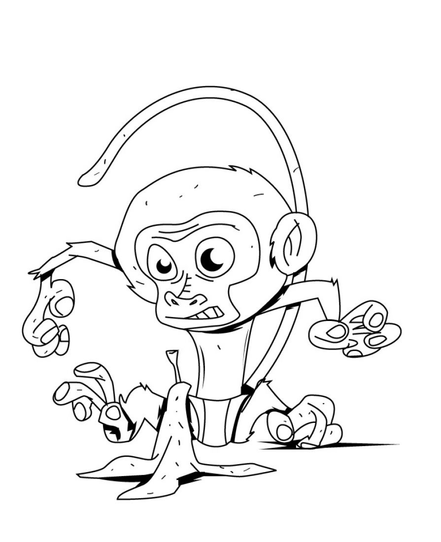Animal Monkey and Baby Monkey Coloring Pages Kids | Kids Coloring ...