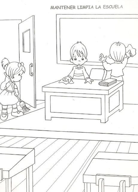 Preciosos Momentos: Manteniendo limpia la escuela ~ 4 Dibujo
