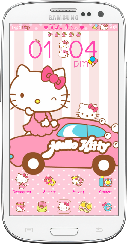 Pretty Droid Themes Hello Kitty Car Ride Go Launcher Theme