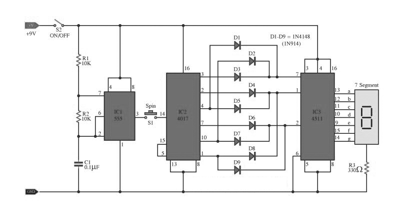 wiring schematic diagram  cd4017 digital dice circuit