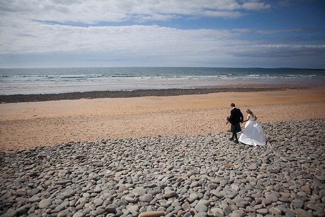Wedding Photography Doonbeg Ireland, bride and groom at the beach