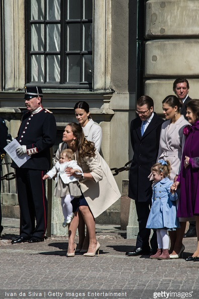 Ms Sofia Hellqvist, Princess Madeleine and Princess Elonore , Prince Daniel, Crown Princess Victoria, Princess Estelle, Queen Silvia are seen during the celebration of the King's birthday at Palace Royale