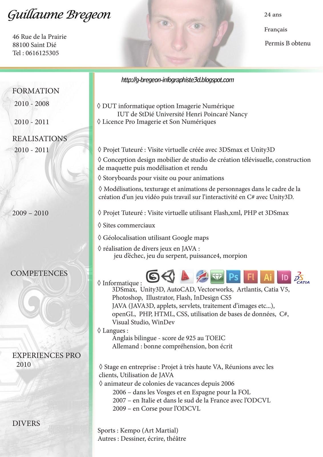 guillaume bregeon infographiste 3d  u0026 d u00e9veloppeur  mon cv