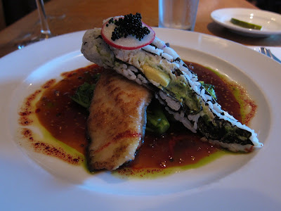 Miso Marinated Cod with California Roll.  The House SF