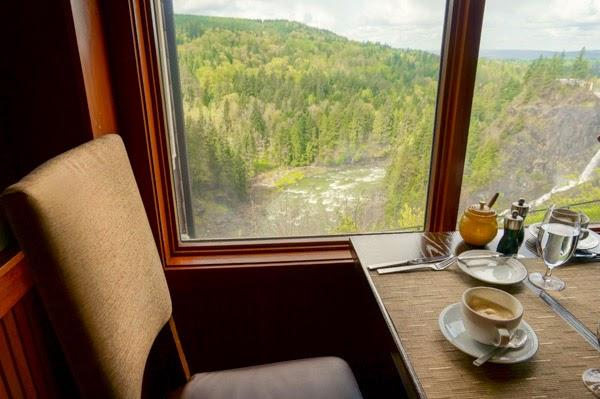salish lodge dining room waterfall view