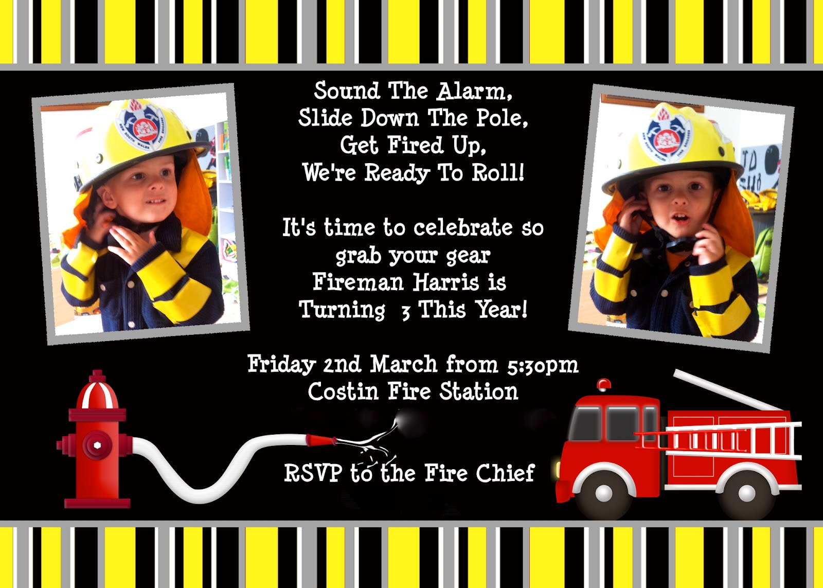 Giggleberry Creations Firefighter Party Invitations