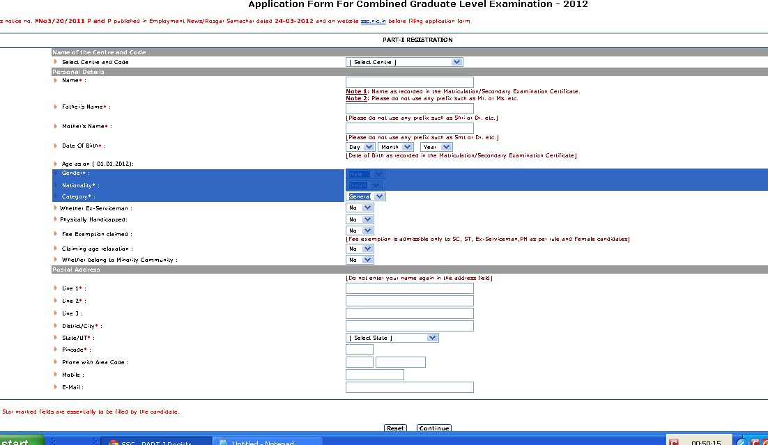 ssc undergraduate level exam 2013 online application form Ssc.