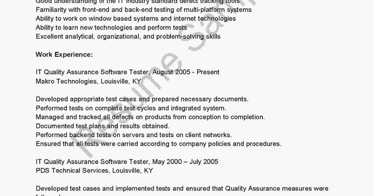 resume samples  it quality assurance software tester