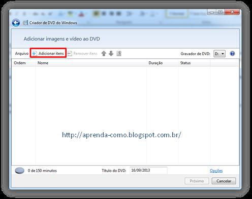 Criando DVD no Windows 7