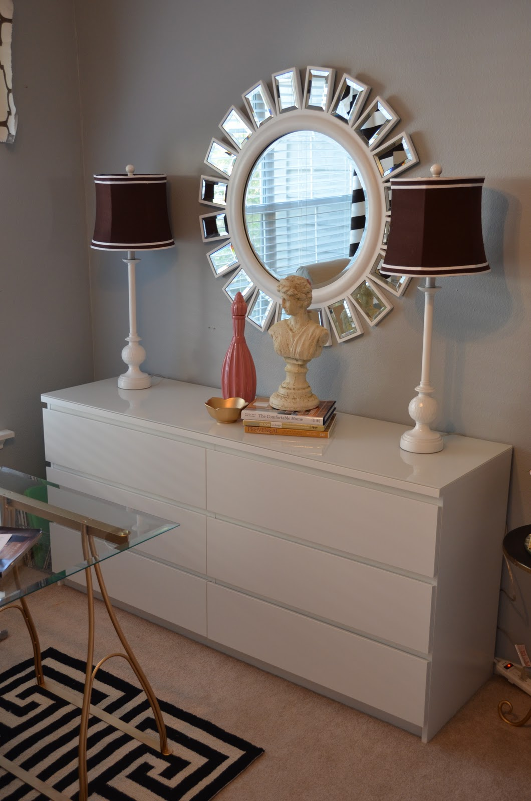ikea malm dresser goes glam amanda carol interiors. Black Bedroom Furniture Sets. Home Design Ideas