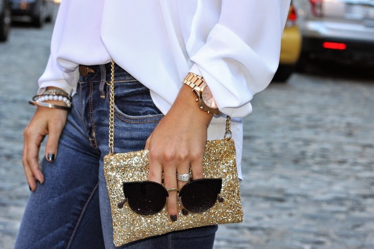 Sole Society Jilly Sunglasses with Sequin Crossbody Bag