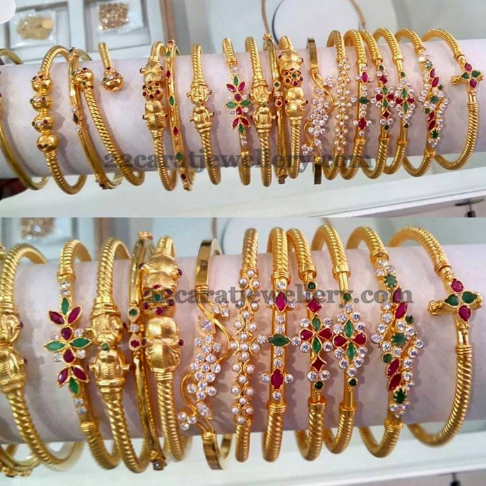 Light Weight and Thin Gold Kada Sets - Jewellery Designs