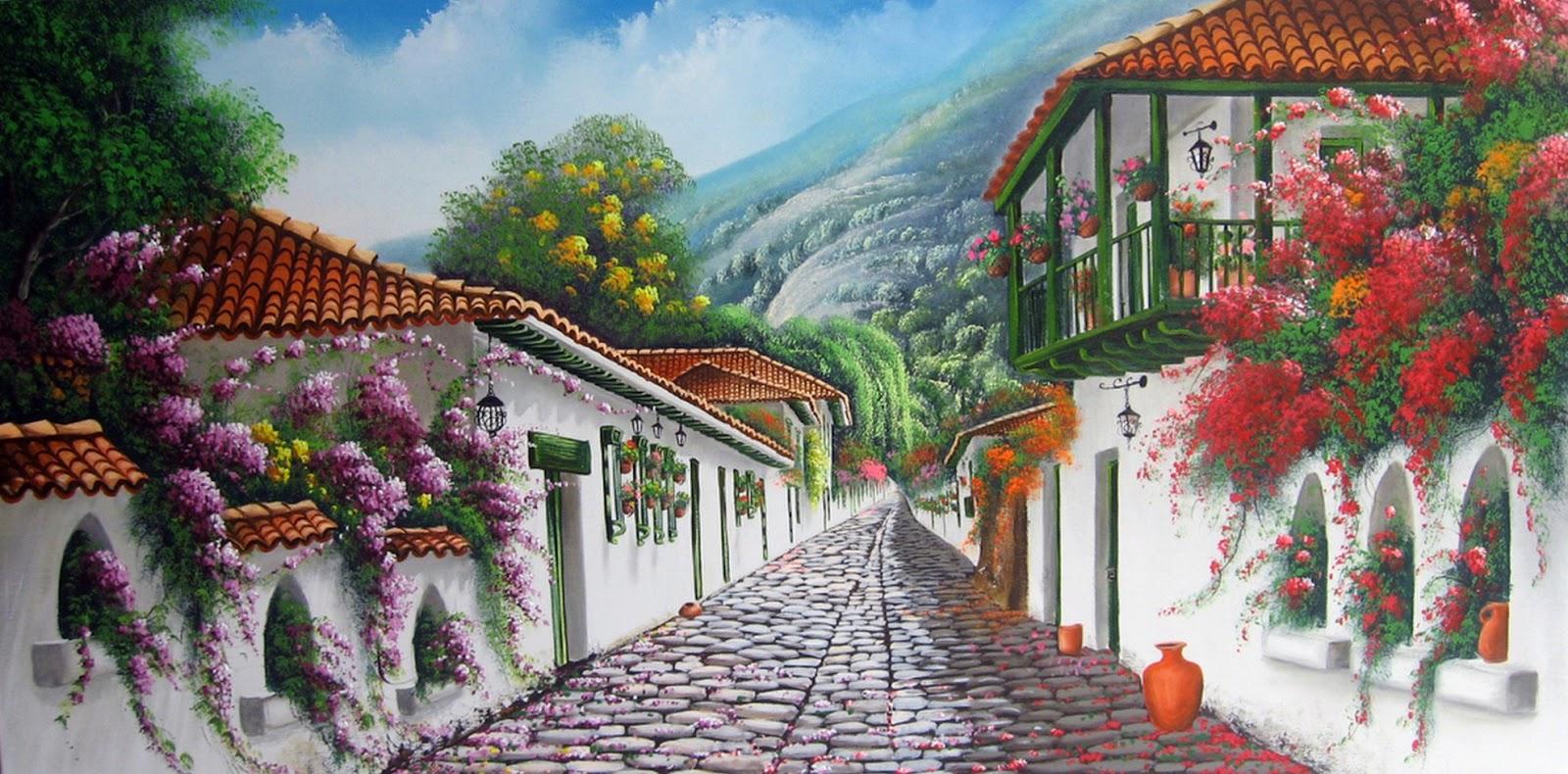 Im genes arte pinturas paisajes r sticos al leo for Jardines murales