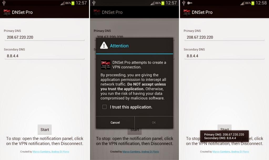 Mengganti DNS di android