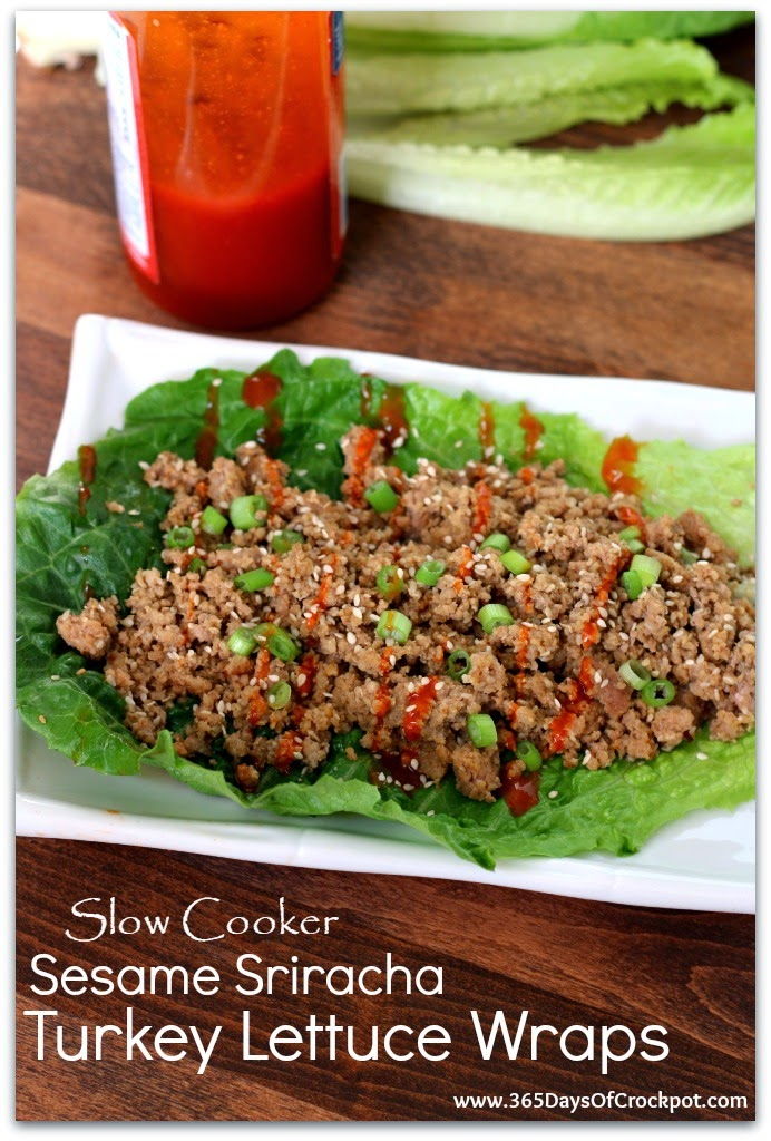 ... Days of Slow Cooking: Slow Cooker Sesame Sriracha Turkey Lettuce Wraps