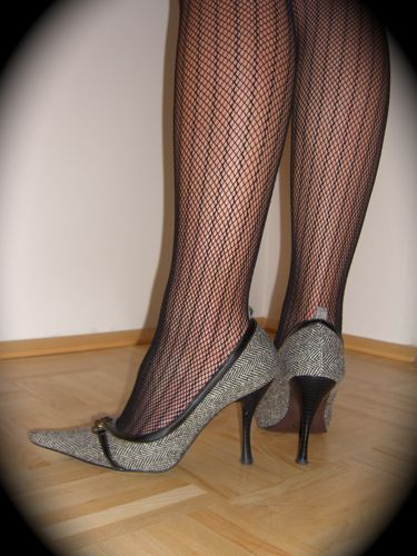 gray high heels