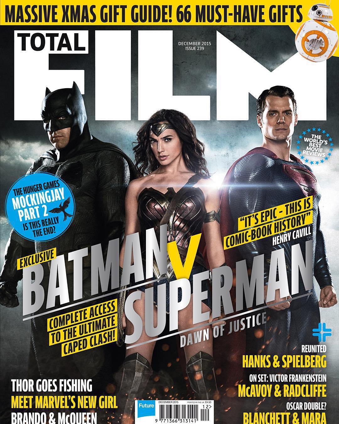 Бэтмен против Супермена: троица на обложке Total Film