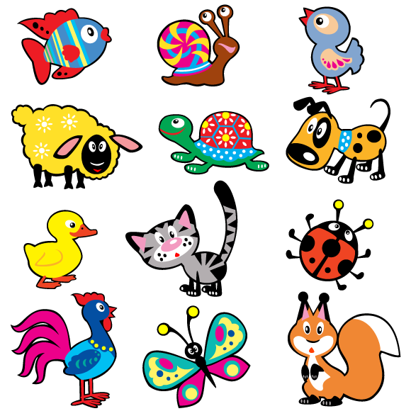 Animalitos estilo dibujo infantil vector clipart - Dibujos para paredes infantiles ...
